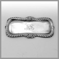 Floral Gadroon Border Pin Tray Whiting Sterling Silver Mono MT