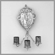 Antique Dutch Wall Sconce Three Light Candleholder 833  Silver