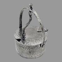 Arts And Crafts Lidded Jar Hammered Finish Joseph Heinrichs Silverplate