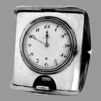 Antique Silver Travel Clock Engine Turned Folding Case