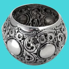 English Ornate Bellied Napkin Ring Sterling Silver 1894 London