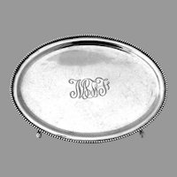 Footed Oval Salver Beaded Rim Kirk Son Co Sterling Silver Mono MFJ
