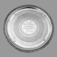 Presentation Salver Tray Round Form Bigelow Bros Kennard Sterling Silver 1867