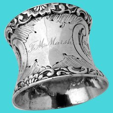 Floral Napkin Ring Applied Border Coin Silver Mono  FM Marsh
