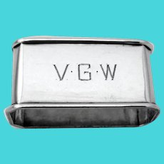 Rectangular Napkin Ring William Kerr Sterling Silver Mono VGW