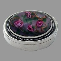 Small Oval Box Floral Art Glass Lid Sterling Silver Mexico