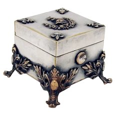 Footed Boxed Traveling Ink Well Silverplate