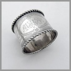 Engine Turned Napkin Ring Twist Rims Coin Silver Mono Mother
