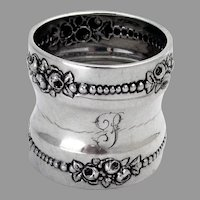 Beaded Rose Border Napkin Ring Gorham Sterling Silver Mono P