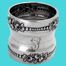 Beaded Rose Border Napkin Ring Gorham Sterling Silver Mono P