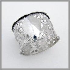 Chinese Openwork Napkin Ring Bamboo Bird Design Sterling Silver