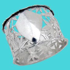 Chinese Openwork Napkin Ring Bamboo Bird Design Sterling Silver