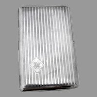 Engine Turned Cigarette Case Sterling Silver 1916 Mono HHB