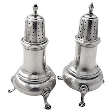 Colonial Revival Salt Pepper Shakers Set Ellmore Sterling Silver