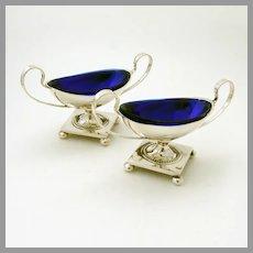 Pedestal Open Salt Dishes Pair Cobalt Glass Liners Swedish Silver 1927