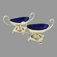 Pedestal Open Salt Dishes Pair Cobalt Glass Liners Swedish Silver 1927