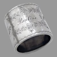 Engraved Napkin Ring Coin Silver Mono Pauline