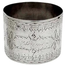 Napkin Ring Engraved Decorations Coin Silver Mono Bennie