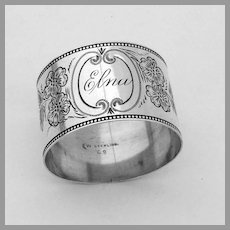 Engraved Floral Napkin Ring Watrous Sterling  Silver Mono Elna