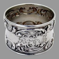 Rose Scroll Napkin Ring Gorham Sterling Silver Mono RAM