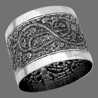 Ornate Hand Chased Napkin Ring 900 Silver