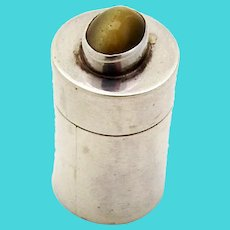 Small Cylinder Form Box Gem Finial Sterling Silver