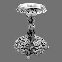 Antique Pedestal Open Salt Figural Nymph Stem Spanish 916 Silver