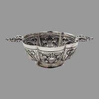 Antique Repousse Footed Brandy Bowl Dutch 833 Silver