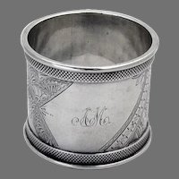 Aesthetic Engraved Napkin Ring Duhme Sterling Silver 1880 Mono AM