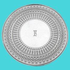 Tiffany Round Openwork Sandwich Plate Sterling Silver Mono F