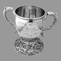 Ornate Two Handled Trophy Cup Hamilton Diesinger Sterling Silver 1900