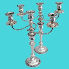 Three Light Candelabra Pair Gadrooned Borders International Sterling Silver