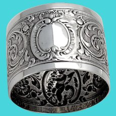 English Repousse Ornate Napkin Ring Sterling Silver 1894 No Mono