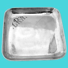 Arts And Crafts Hammered Square Tray Allan Adler Sterling Silver Mono LRA