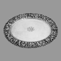 Stieff Rose Oval Tray Hand Chased Sterling Silver 1945 Mono CRH