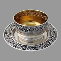 Roses Scrolls Baby Bowl Underplate Set Gorham Sterling Silver Mono DPC