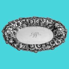 Stieff Rose Bread Tray Sterling Silver Mono W