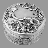 Queen Of The Flowers Dresser Jar Unger Brothers Sterling Silver 1904