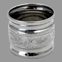 Aesthetic Engraved Napkin Ring Coin Silver Mono HRH