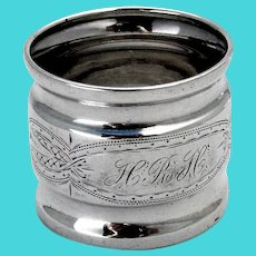 Aesthetic Engraved Napkin Ring Coin Silver Mono HRH