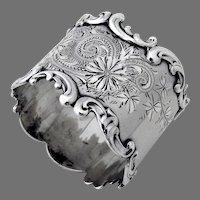 Engraved Napkin Ring Scroll Border Sterling Silver Mono Lothrop
