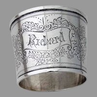 Large Collar Form Napkin Ring Applied Button Coin Silver Mono Richard