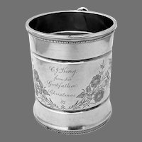 Floral Christening Cup Wood Hughes Sterling Silver Mono 1882