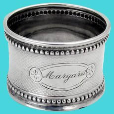 Beaded Engine Turned Napkin Ring Coin Silver 1865 Mono Margaret
