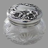 Queen Of The Flowers Large Dresser Jar Unger Bros Sterling Silver Lid 1903