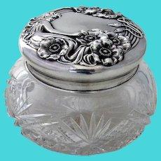 Queen Of The Flowers Large Dresser Jar Unger Bros Sterling Silver Lid 1903