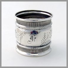 Engraved Floral Napkin Ring Coin Silver Mono F