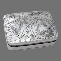 Engraved Rectangular Pill Box Hinged Lid Sterling Silver