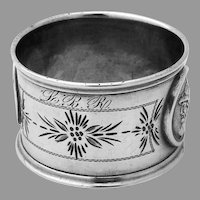 Double Medallion Engraved Napkin Ring Coin Silver Mono LBR