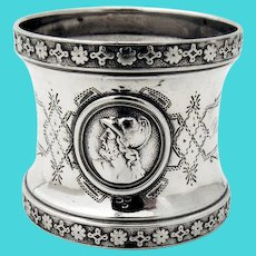 Ornate Double Medallion Napkin Ring Coin Silver Mono JH Philopena